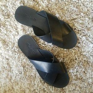 Madewell The Boardwalk Slide Sandals Black Leather